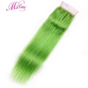 Image 4 - MS 愛事前色緑ストレートヘアの束で 100% レミーブラジル人間の髪のバンドル閉鎖 4*4 毛織り