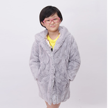 Real fur rabbit fur coat mother and daughter Family fitted jacket size S-4XL big boys and girls warm winter fashion недорого