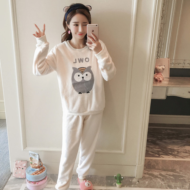 05ef2dc133 Winter coral velvet pajamas long-sleeved autumn and winter Korean thick  plush sweet cute flannel