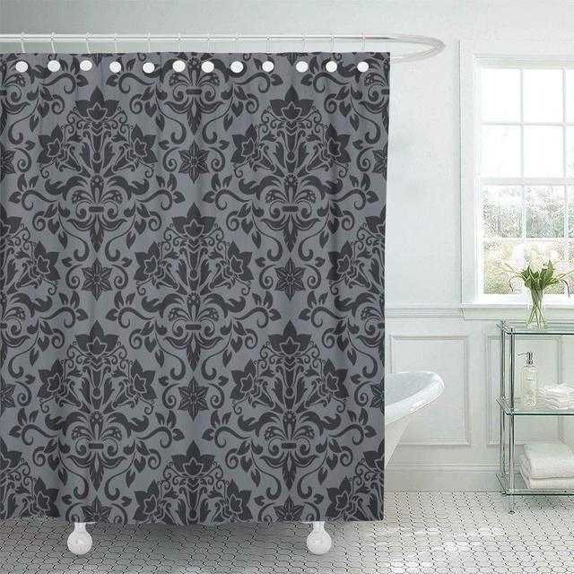 Shower Curtain Gray Royal Dark Grey And Black Damask Vintage Pattern Antique Baroque Expensive Floral