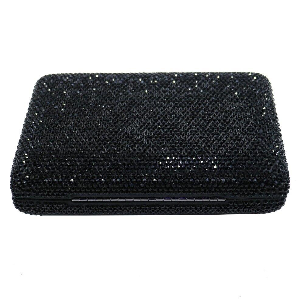 Pochette rigide noire sacs à main de soirée avec strass sacs de soirée en cristal et pochettes - 3
