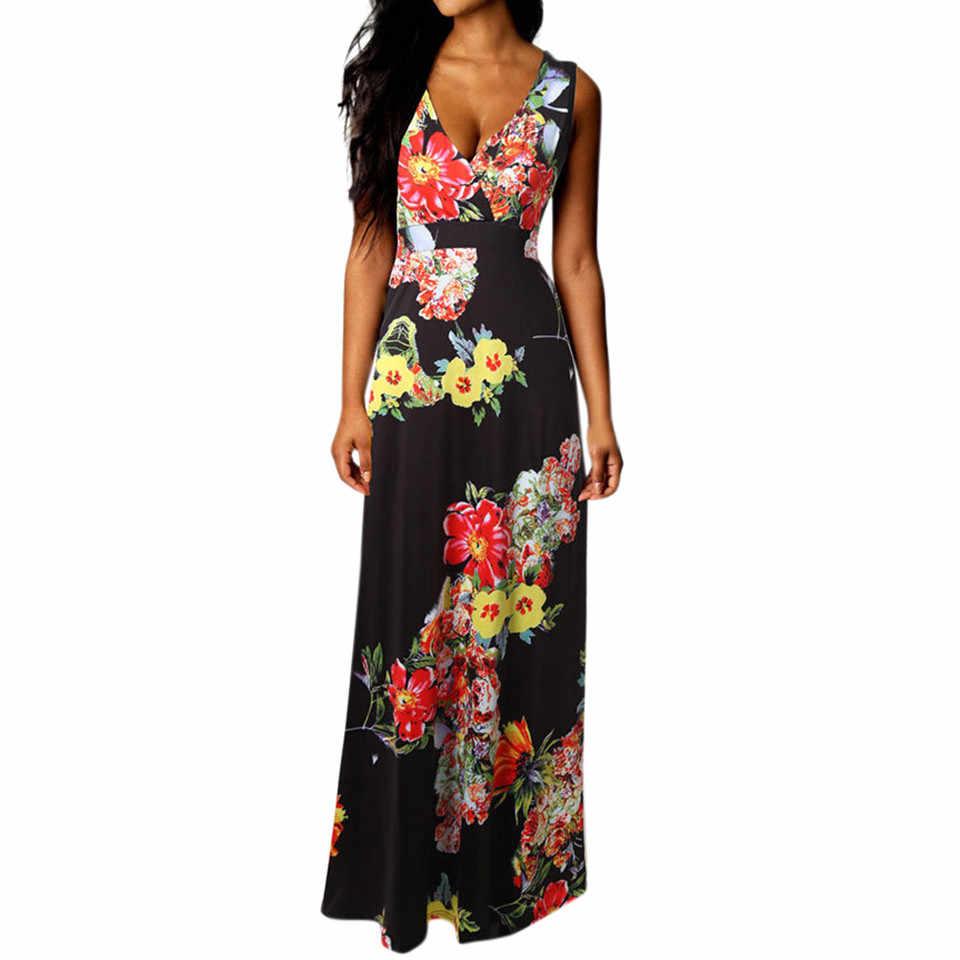 e37bab74508ab JAYCOSIN 2019 Summer Dress Women Boho Maxi Summer Beach Long Cocktail Party  Floral Dress Fashion Elegant Casual Vestido 4