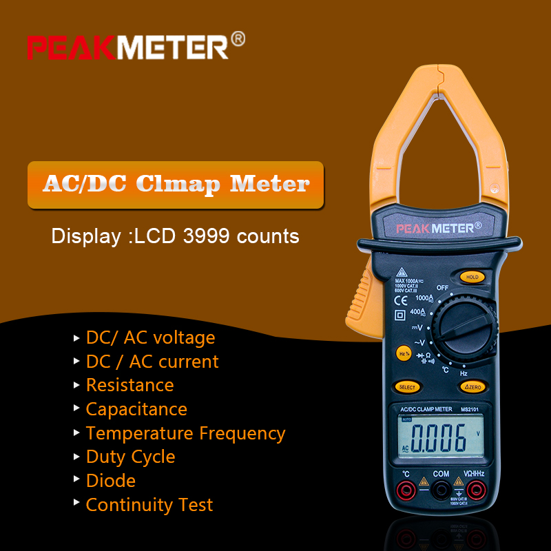 PEAKMETER MS2101 Digital Clamp Meter AC DC Auto range temperature meter Buzzer Data Hold Non-contact Multimeter LCD 3999 counts