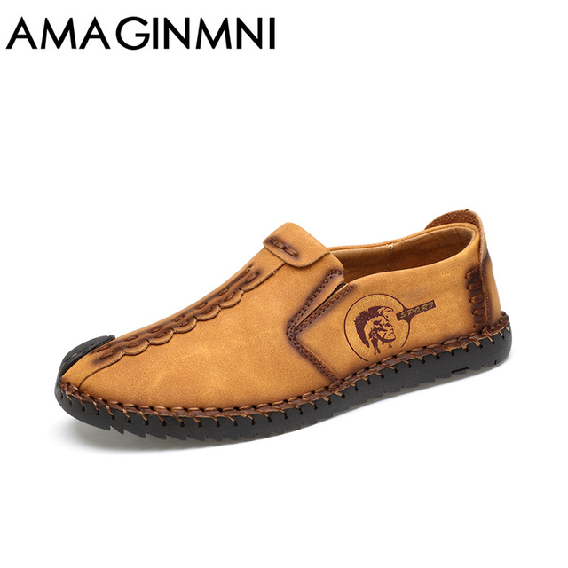 AMAGINMNI 2017 New Comfortable Casual Shoes Loafers Men Shoes Quality Split Leather Shoes Men Flats Hot Sale Moccasins Shoes 4