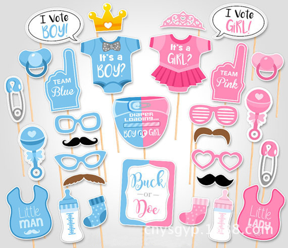 Rainlemon (TM) Jongen of meisje Gender Reveal Party Photo Booth Props - Feestversiering en feestartikelen - Foto 1