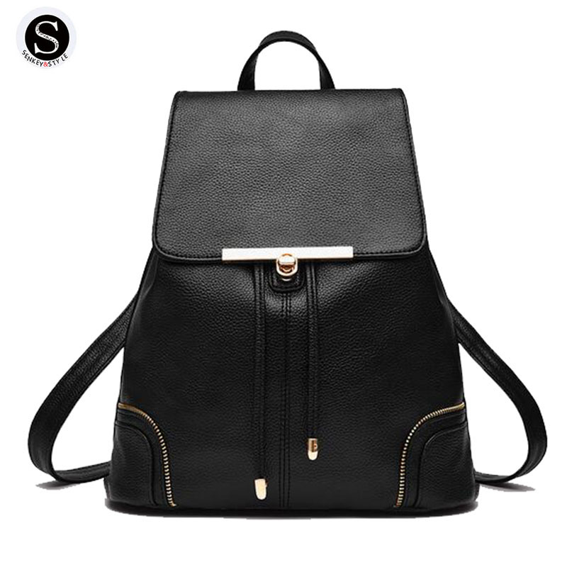 Senkey Style 2017 Fashion New School Bags For Teenagers Women Leather Backpack Student Girl Big Famous