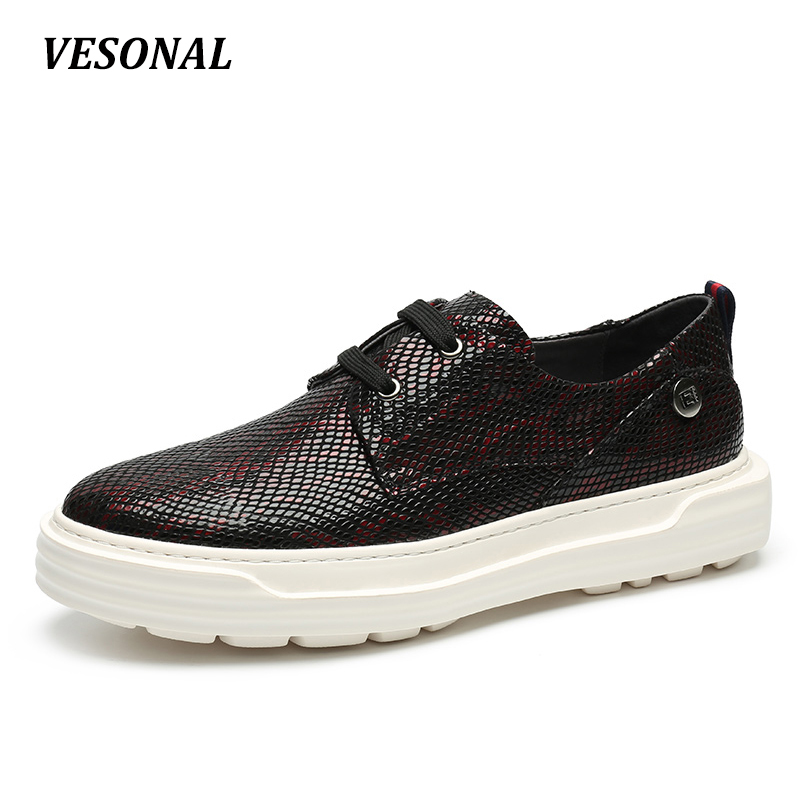 VESONAL Serpentine Embossing 100% Genuine Leather Luxury Men Shoes Fashion Platform Mens Shoes Casual Derby Designer SD6085 2015 europe serpentine grain luxury fashion casual men shoes genuine leather height increasing 8cm taller flats for office 946