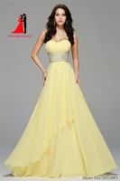 2017 Chiffon Long Prom Dresses Yellow Evening Gown Crystal Beads Belt Vestido De Festa Beach Bridesmaid