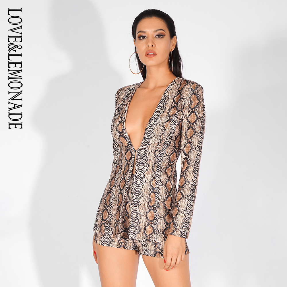 Love Lemonade Sexy Deep V Neck Snake Print Two Pieces Set LM80316 5
