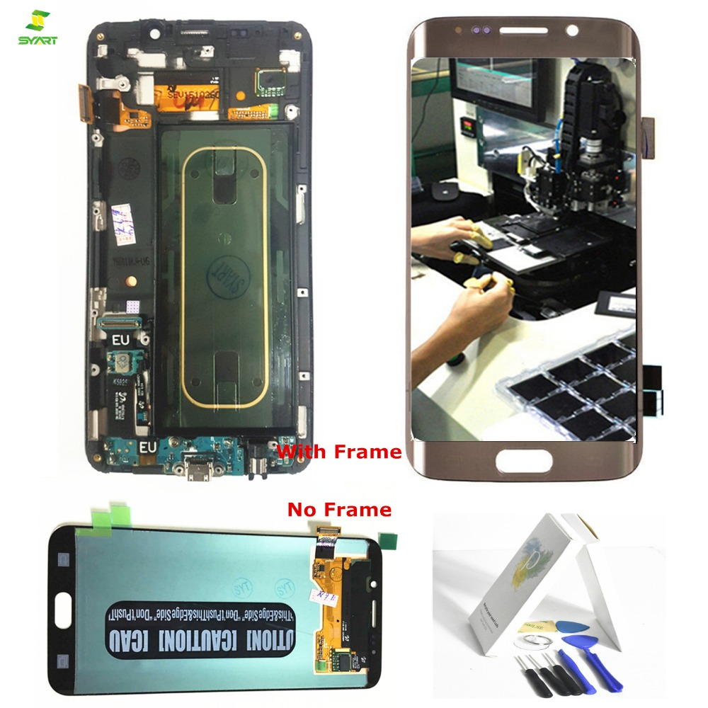 Borda Borda Além de Tela Para Samsung Galaxy S6 S6 Plus G928 G928F LCD Screen Display Toque Digitador Assembléia Completa 5.7