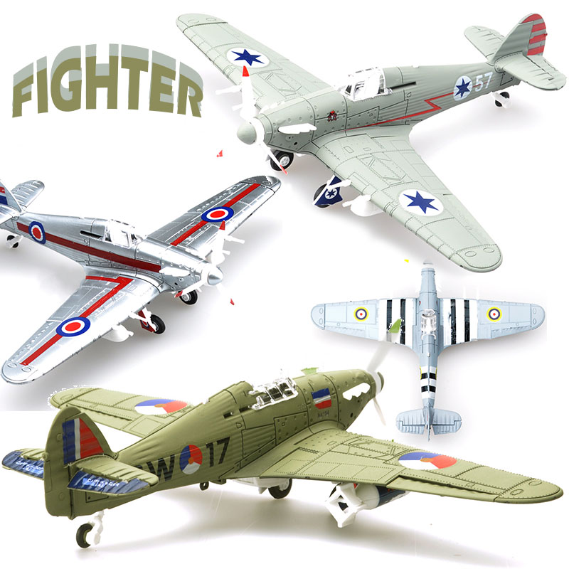 1Pcs  Random Color 1/48 Assemble Simulation Fighter Model Toys Building Tool Sets Aircraft Diecast War-II Hurricane Fighter