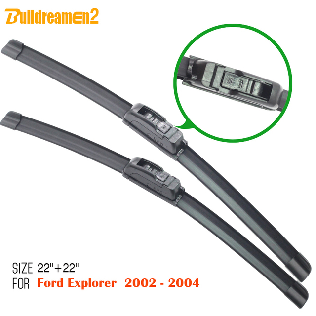 Buildreamen2 1pair Car Window Windshield Wiper Blade Vehicle Bracketless Soft Rubber For Ford Explorer 2002 2004
