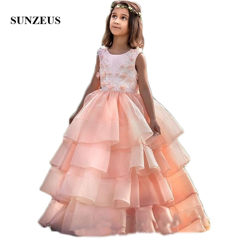 Coral Organza Skirt Kids Pageant Party   Dresses   Ball Gown Tiered Skirt Lace Handmade   Flowers   Cute   Flower     Girls     Dresses   SF63