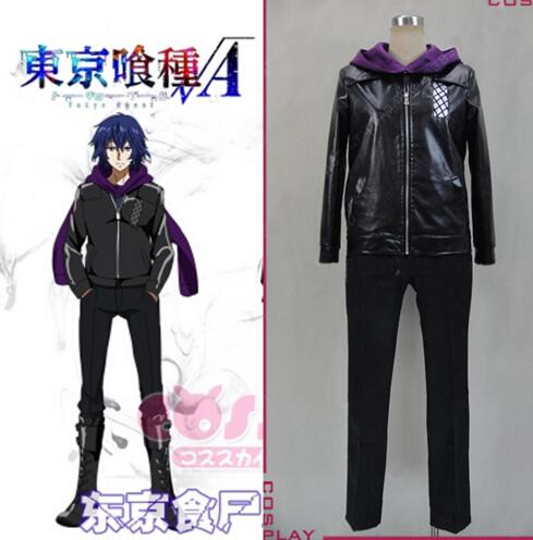 adult halloween costumes for men tokyo ghoul Kirishima Ayato cosplay Costumes anime clothes for men Leather jacket with Scarf