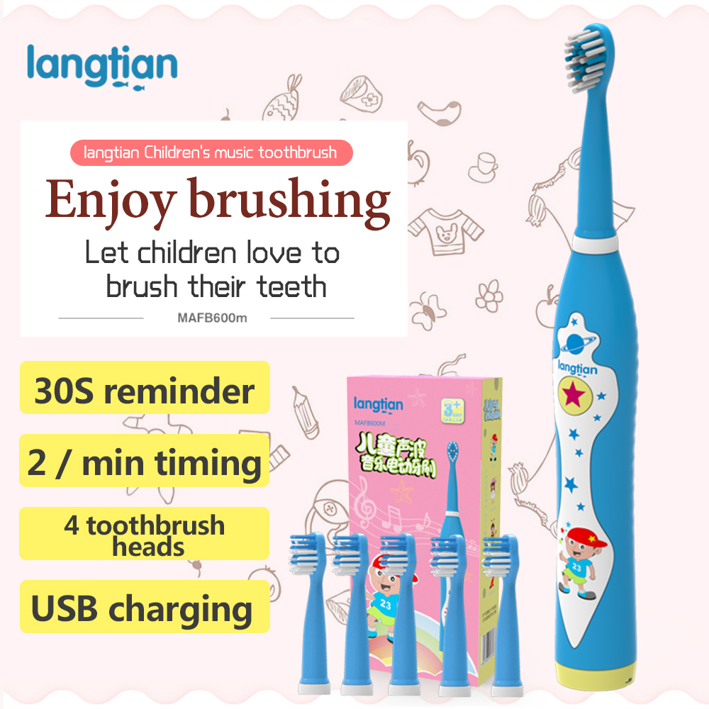 Langtian Child Sonic Electric Toothbrush Ultrasonic Whitening Teeth Vibrator Children's Tooth Brush Dental Care Oral Pinceis