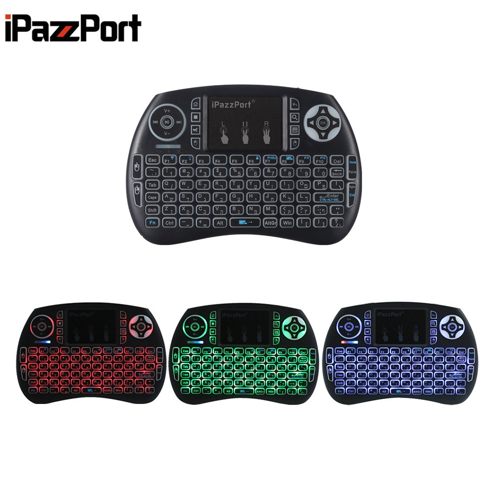 iPazzPort Mini Wireless QWERTY Game Keyboard Backlight Function with Touchpad Portable Keyboard for PC TV TV Box Russian Italian ukb 106 all in one world s most mini 2 4ghz wireless qwerty keyboard mouse presenter combo with touchpad lithium battery for home office
