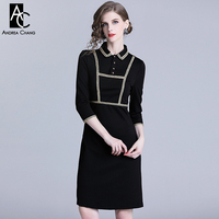 S XXL spring summer woman dress yellow knitted border black dress 3/4 sleeve knee length slim slim vintage office black dress