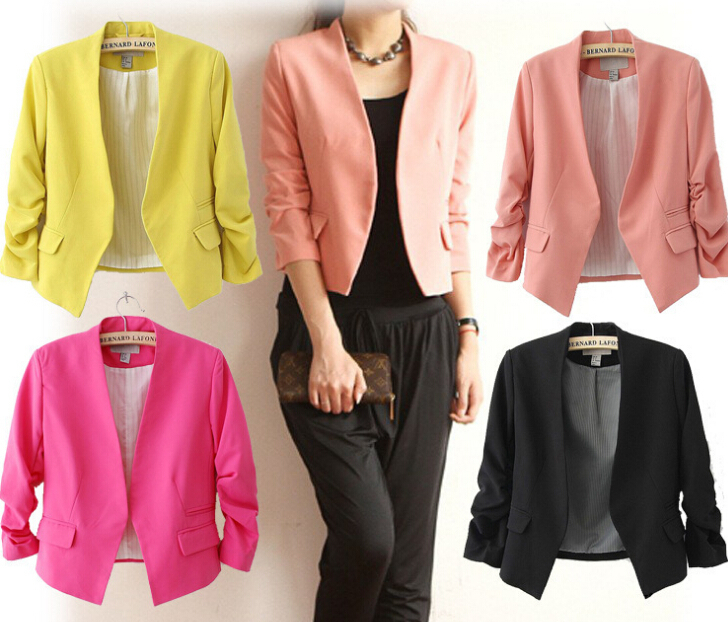 2014 NEW Chic Basic Solid Color Fashion Blazer Women 3/4 Sleeve Pockets None Button Woman Slim Short Suit Jacket YM179 - Fashion&pretty Life store