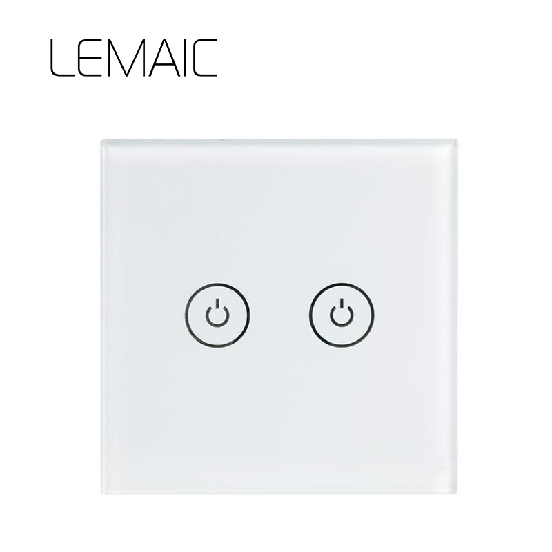 LEMAIC Remote Control Switch 2 Gang 1 Way RF433 Smart Wall Switch Wireless remote control touch light switch Smart Home centurion smart 1 smart 2 smart 4 replacement remote control