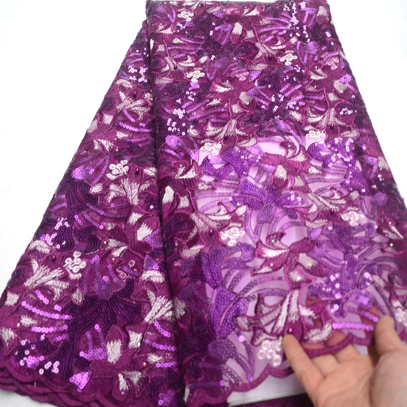 5 Yard Purple African Lace Fabric High Quality African Tulle Lace Fabric With Sequins French Net