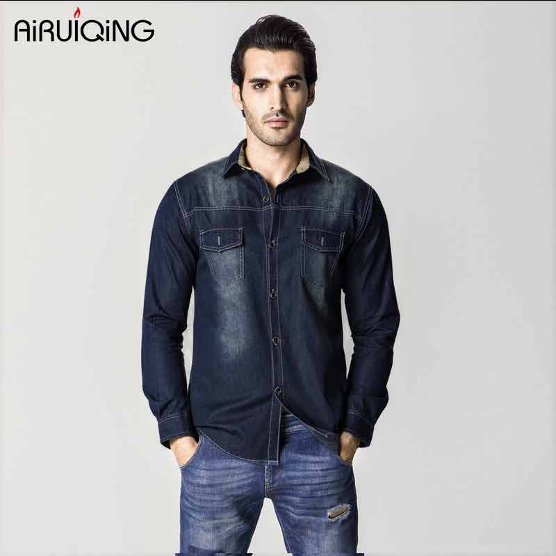 2017 New Spring European version of the plus size high quality 100% cotton male water wash denim long-sleeve shirt 6xl