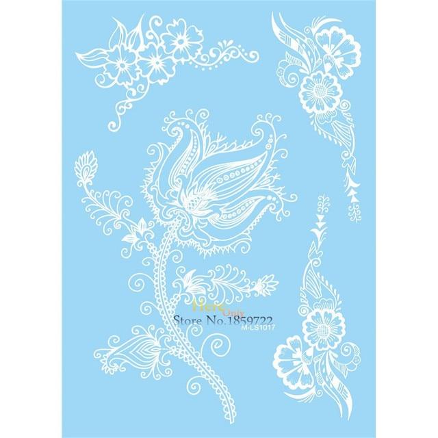 Sexy Blanc Henne Stickers Impermeables Tatouage Lotus Fleur Bras