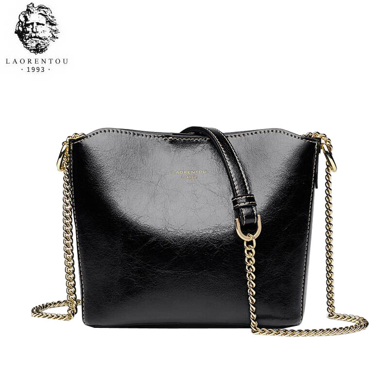 LAORENTOU high quality fashion luxury brand new 2019 bucket bag wild leather Messenger bag small bag simple chain bagLAORENTOU high quality fashion luxury brand new 2019 bucket bag wild leather Messenger bag small bag simple chain bag