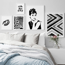 Nordic Minimalist Zebra Girl Lips Wall Art Canvas Painting Posters And Prints Black White Pictures For Living Room
