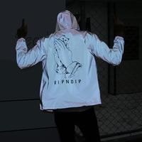 Dog Print Reflective Jacket Men Women 2017 Brand New Mens Jackets And Coats Casual Hip Hop