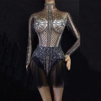 Women Sexy Black Bodysuit With short Yarn Skirt Sparkling Crystal Nightclub Party Stage Wear Dancer Singer Dance Costumes DJ357
