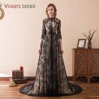 Три четверти Черное кружево Вечерние платья Высокая шея Длинные Вечерние вечернее платье халат De Soiree Вивиан Свадебные 100% натуральная изобр