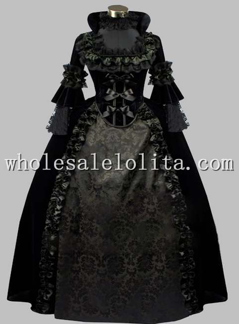 Deluxe Gothic Black Jacquard Pleuche Noble Victorian Era Dress Ball Gown