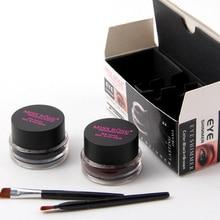 Melhor 2 em 1 + Brown Black Gel Eyeliner Maquiagem à prova d' água Smudgeproof Kit Cosméticos Set Eye Liner Maquiagem Lápis de Olhos Creme 120 sets
