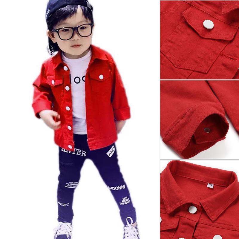 Children Boys Girls Denim Jacket Coat Korea Fashion Lapel Long