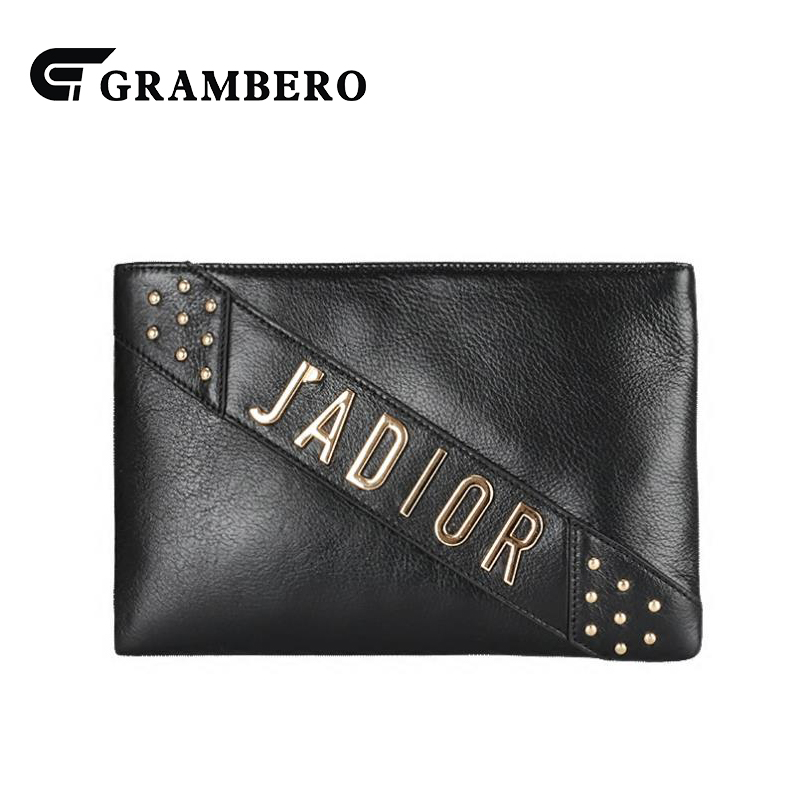 Fashion Letter Genuine Leather Clutch Wallet Women Party Shopping Shoulder Crossbody Messenger Bag Cowhide Leather Purse Gifts 2017 women bag cowhide genuine leather fashion folding handbag chain shoulder bag crossbody bag handbag party clutch long wallet