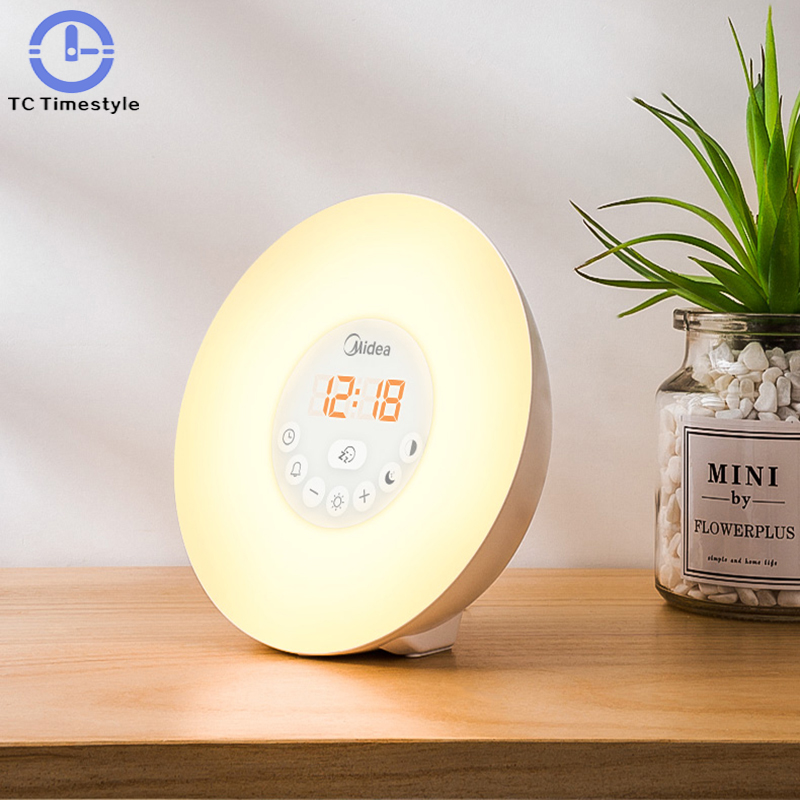 Electronic Alarm Clock Mute Bedside Night Light Intelligent Personality Multi-functional Creative Can Change Color Cute