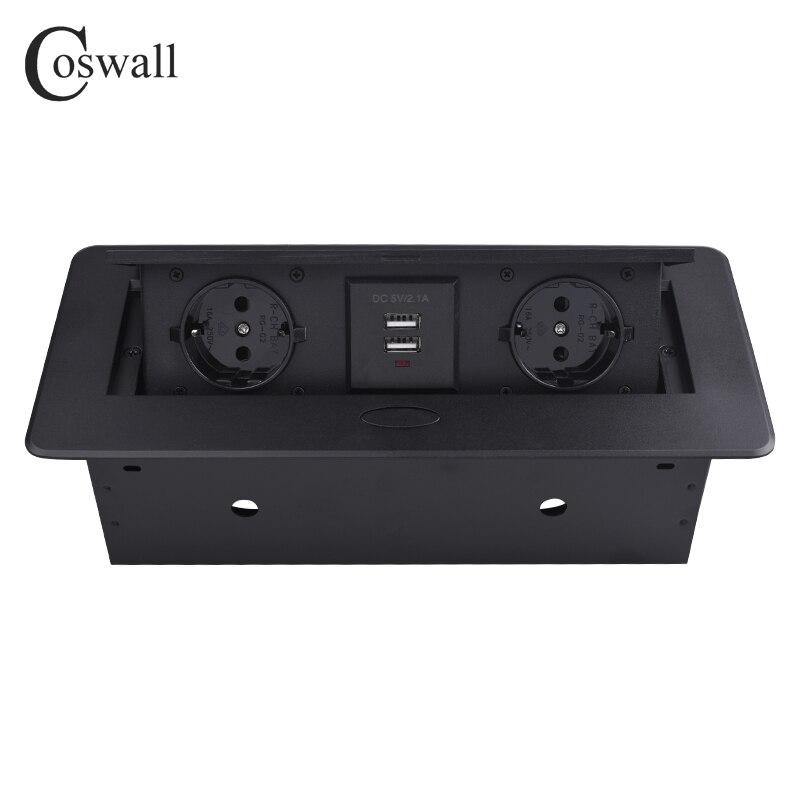 COSWALL пластина из цинкового сплава 16A медленно POP UP 2 мощность ЕС разъем Dual USB зарядки порты и разъёмы 2.1A офисный стол Outlet матовый черный крышка