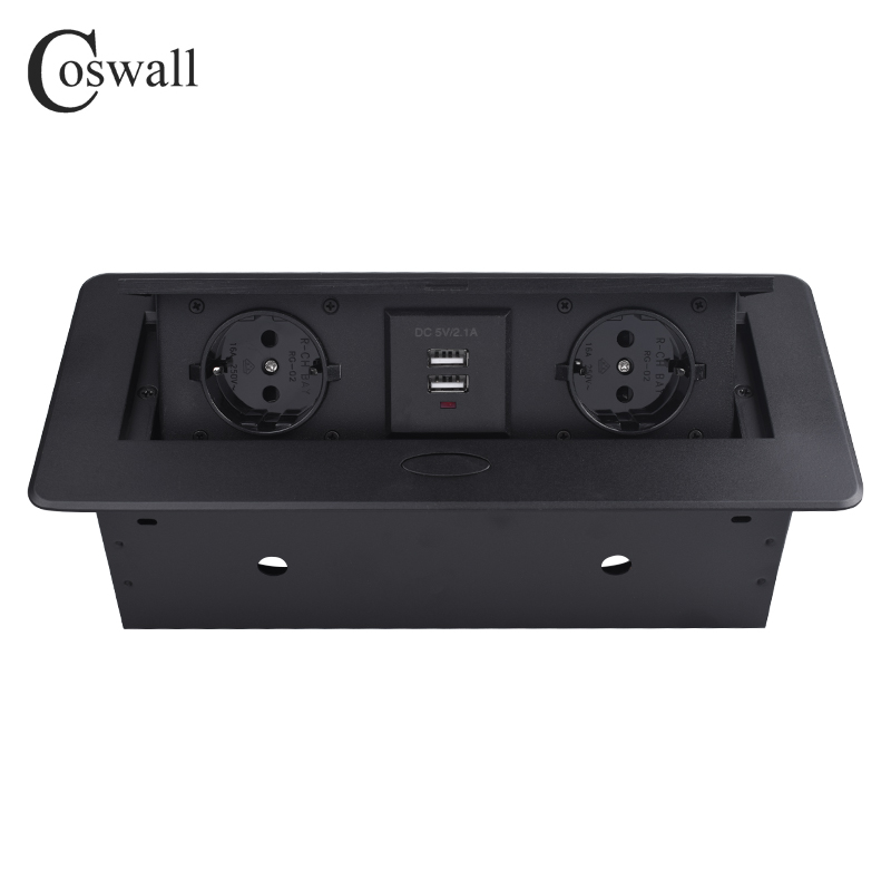 COSWALL Zinc Alloy Plate 16A Slow POP UP 2 Power EU Socket Dual USB Charge Port 2.1A Office Table Outlet Matte Black Cover()