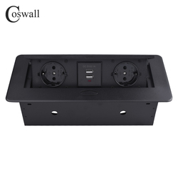 COSWALL Zinc Alloy Plate 16A Slow POP UP 2 Power EU Socket Dual USB Charge Port 2.1A Office Table Outlet Matte Black Cover