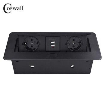 COSWALL Zinklegering Plaat 16A Slow POP UP 2 Power EU Socket Dual USB Lading Poort 2.1A Kantoor Tafel Outlet matte Zwarte Cover
