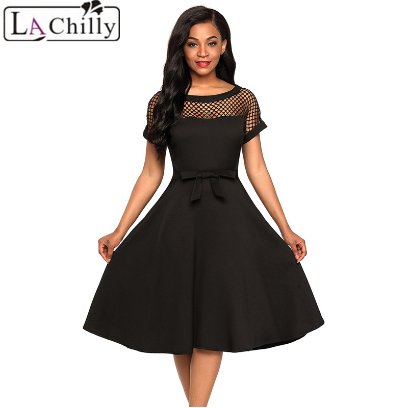 La Chilly Woman Clothes 2018 Summer Dresses Casual Fishnet Insert Black Bow knot Embellished A Line Dress Dames kleding LC61862