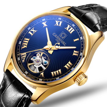 0fc9bc672032 Carnaval relojes hombres mecánico automático de la marca de lujo de zafiro  Tourbillion reloj hombre impermeable de los hombres relojes C8660-6