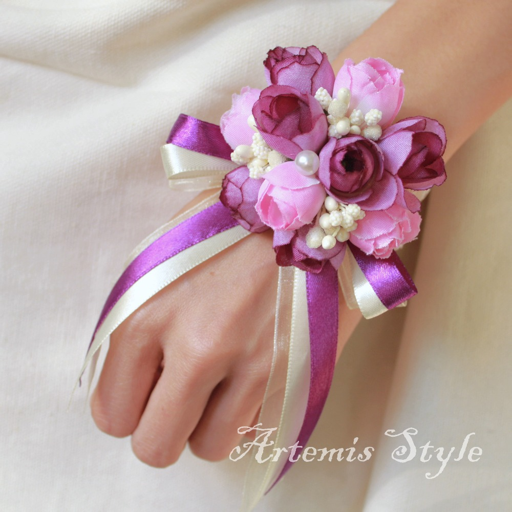 Tiny Rose Buds Wrist Corsage Wedding Artificial Flowers Decoration