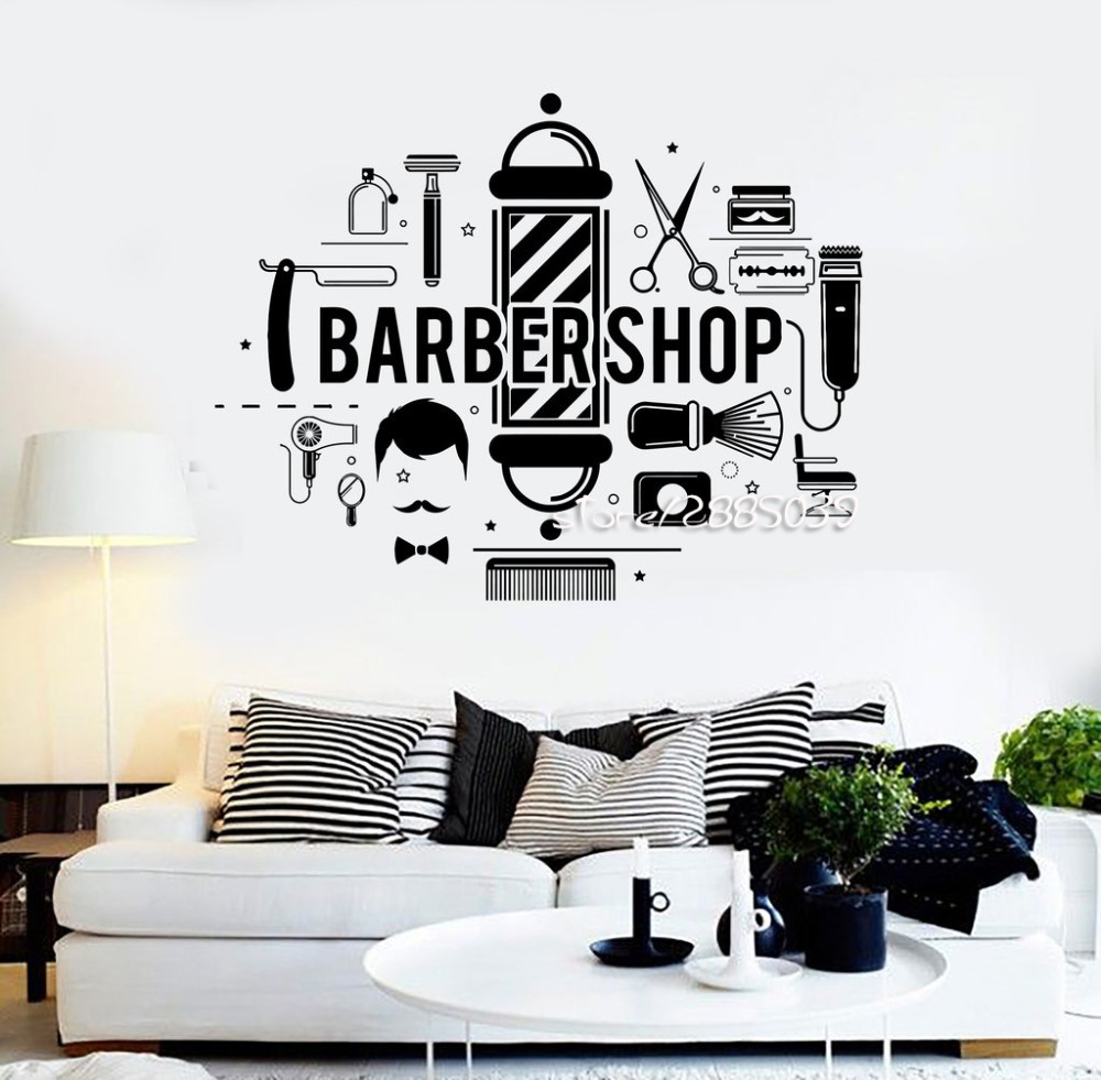 Barbershop hair salon stylist wall stickers barber e co for Stickers de pared