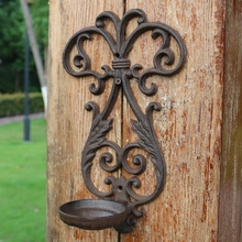 2 pcs/lot Wall Mounted Sconce Cast Iron Candle Holder Rustic Metal Wrought Iron Country Rural Wall Decoration DHL Free Shipping недорго, оригинальная цена