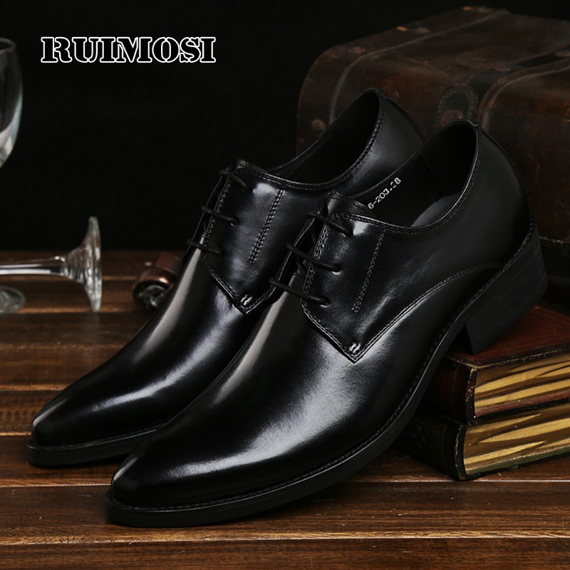 RUIMOSI Top Quality Italian Designer Man Formal Dress Shoes Genuine Leather Platform Oxfords Pointed Men's Flats For Bridal AD86