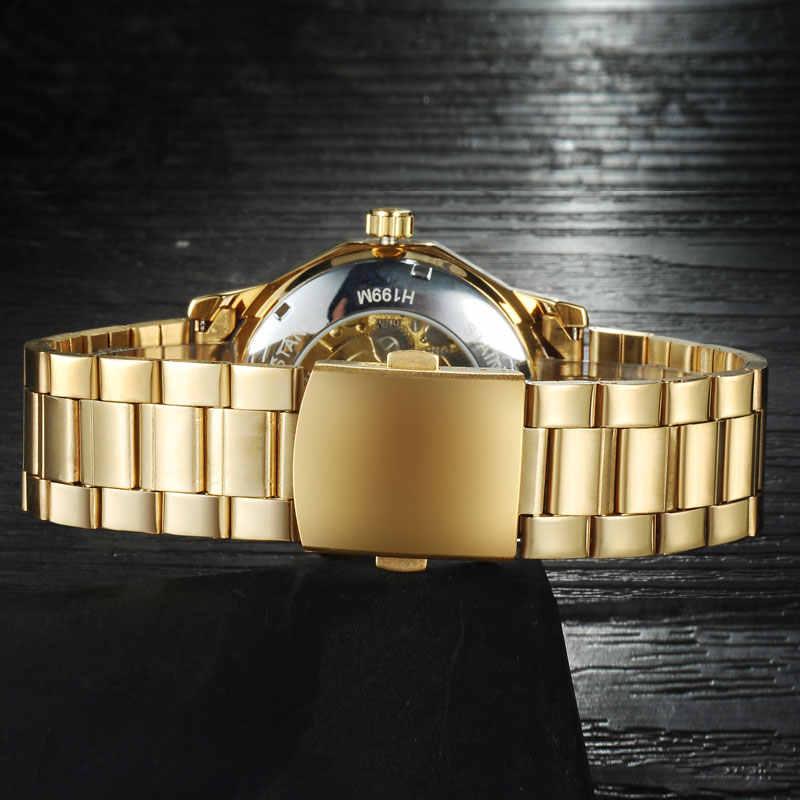 זוכה מותג שעונים גברים מכאני שלד שורש כף יד שעונים אופנה מקרית אוטומטי רוח שעון זהב פלדה בנד relogio masculino