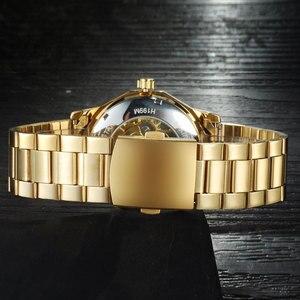 Image 3 - Kazanan marka saatler erkekler mekanik İskelet bilek saatler moda casual otomatik rüzgar İzle altın çelik kayış relogio masculino