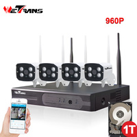 Wireless CCTV System Wifi 4CH 960P HD 20m IR Night Vision IP Security Camera System Outdoor