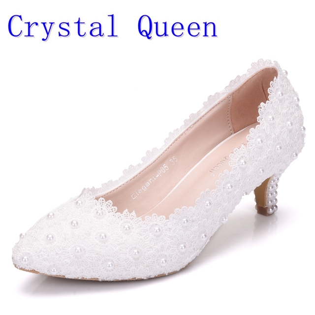 Crystal Queen Women Shoes White Lace Wedding 5CM High Heels Sweet Pumps